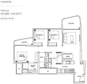 coastline-residences-3-bedroom-floor-plan-c2-singapore